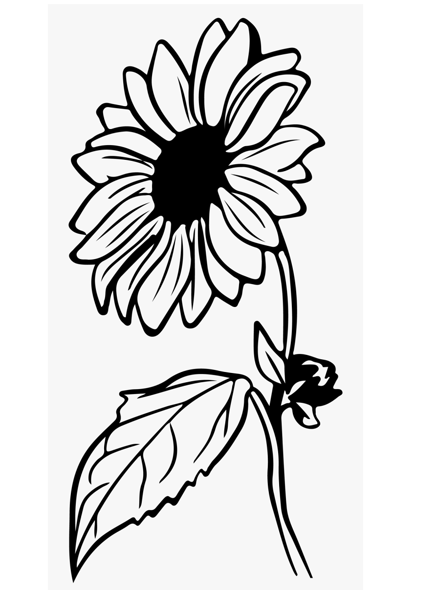Large Sunflower coloring page | Flowers Templates | 1207x894