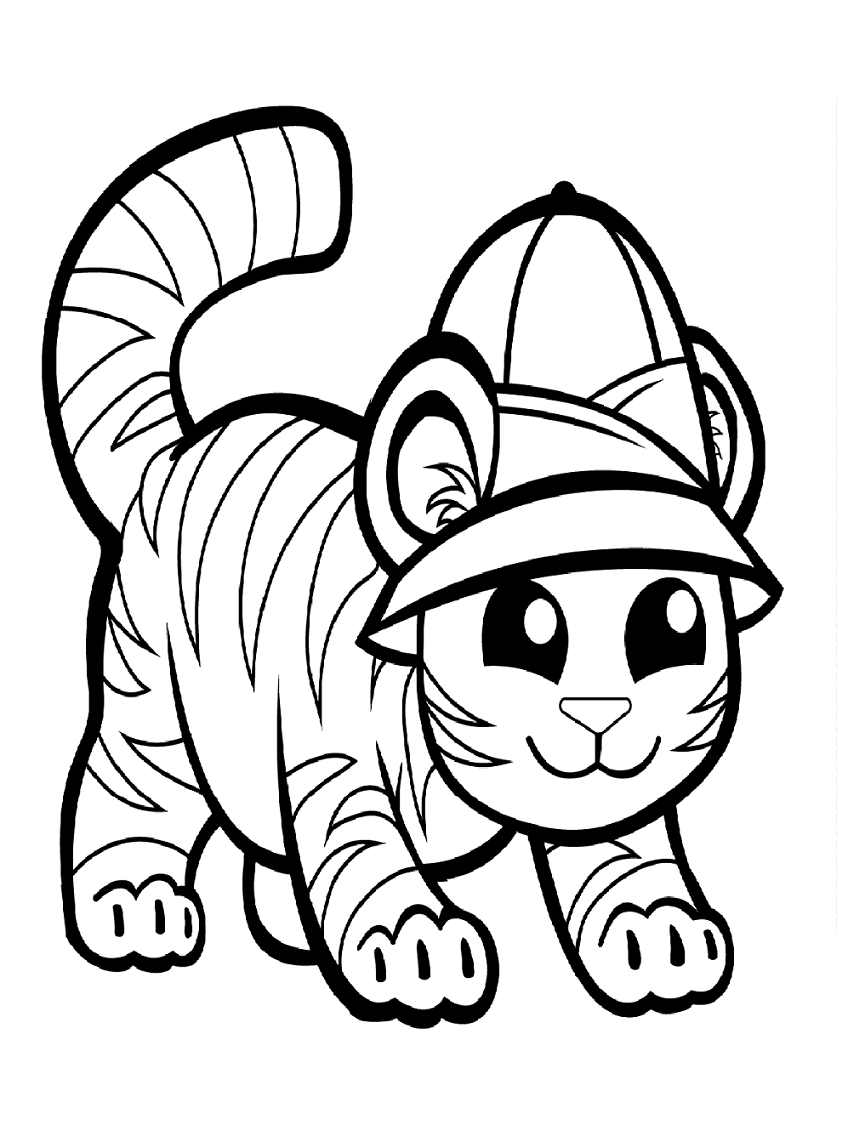 This is a graphic of Printable Tiger Pictures pertaining to coloring sheet