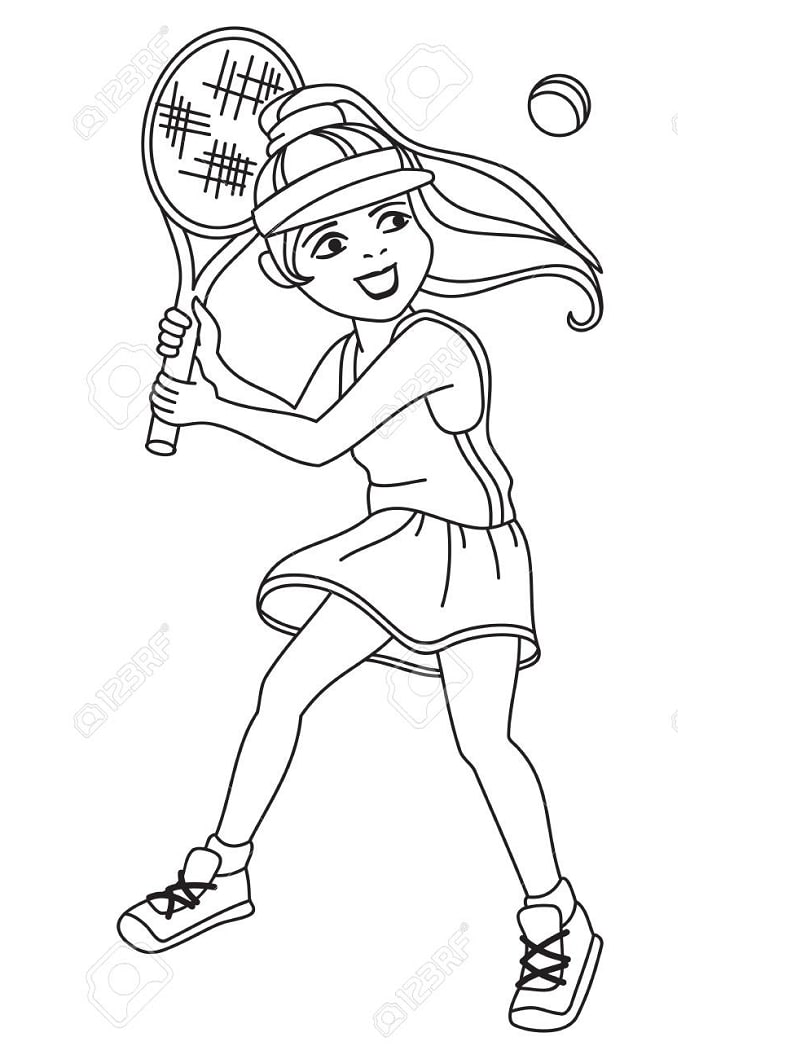 125395638 Smiling Little Girl Is Playing Tennis Printable Coloring Page For Kids Online Coloring Pages