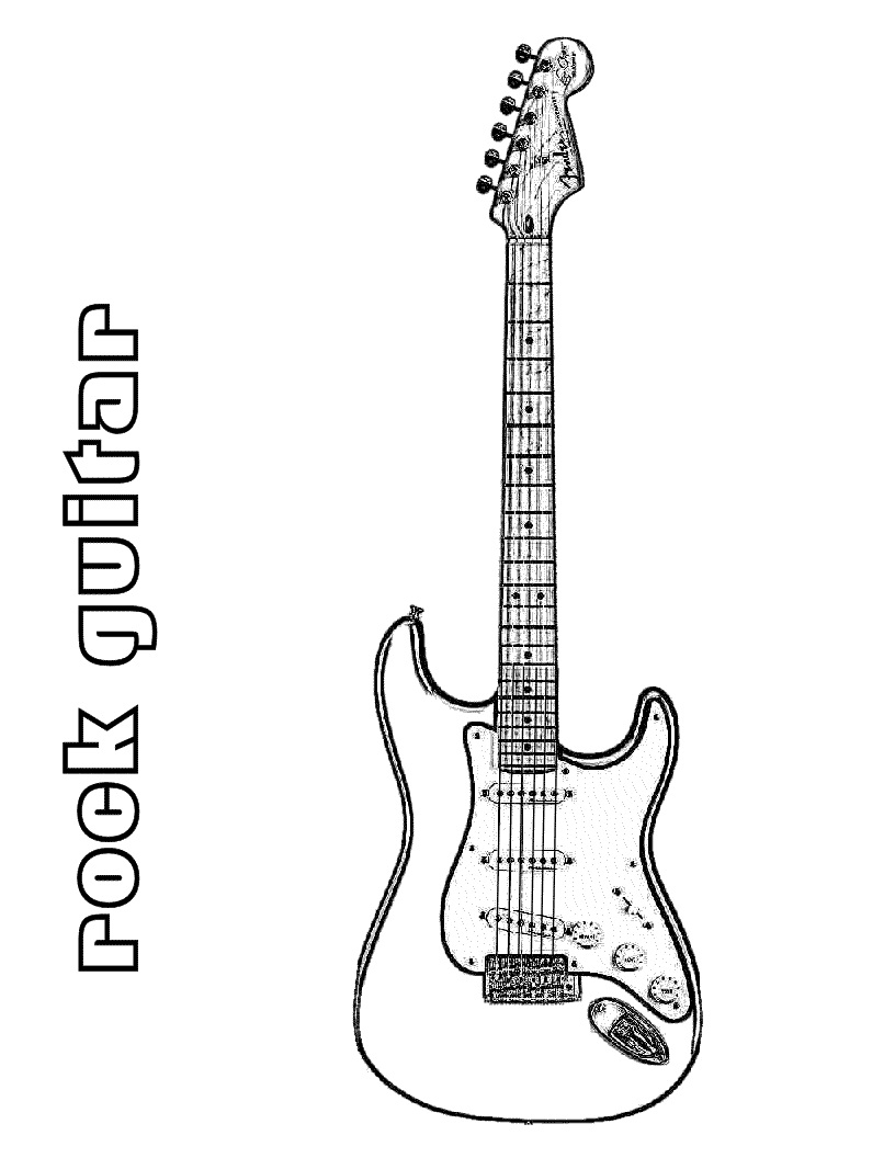 Top 20 Printable Guitar Coloring Page