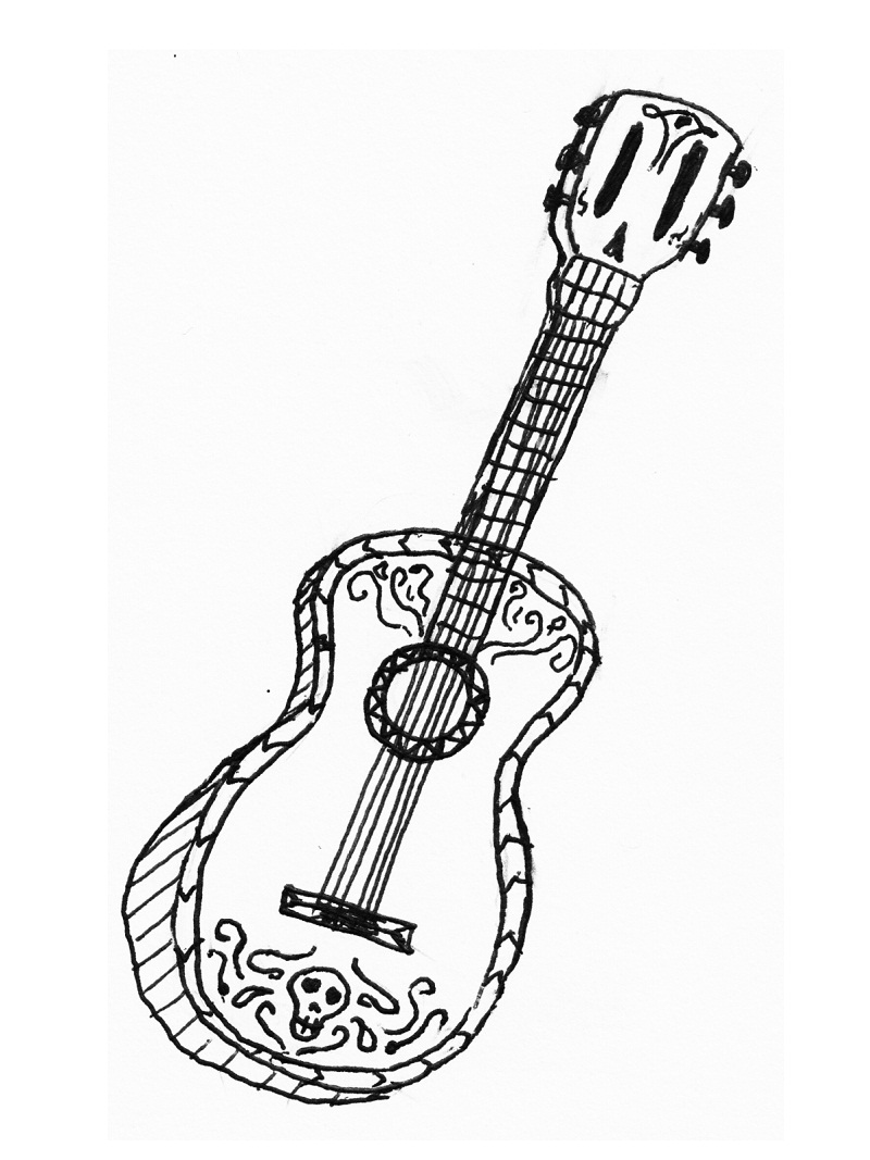 Free Guitar Coloring Page | Coloring pages, Hand embroidery patterns, Guitar | 1067x800