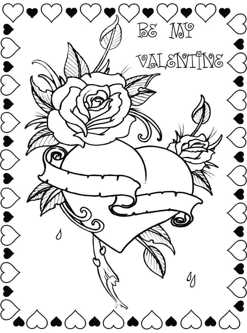 Online Coloring Pages: Kids Coloring Pages : Valentine Day Roses ... | 1078x800