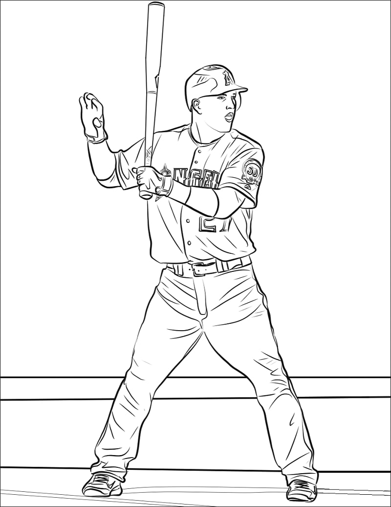 Mike Trout Coloring Page Online Coloring Pages