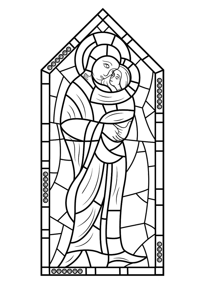 Stained Glass Coloring Pages for Adults - Best Coloring Pages For Kids | 1084x800