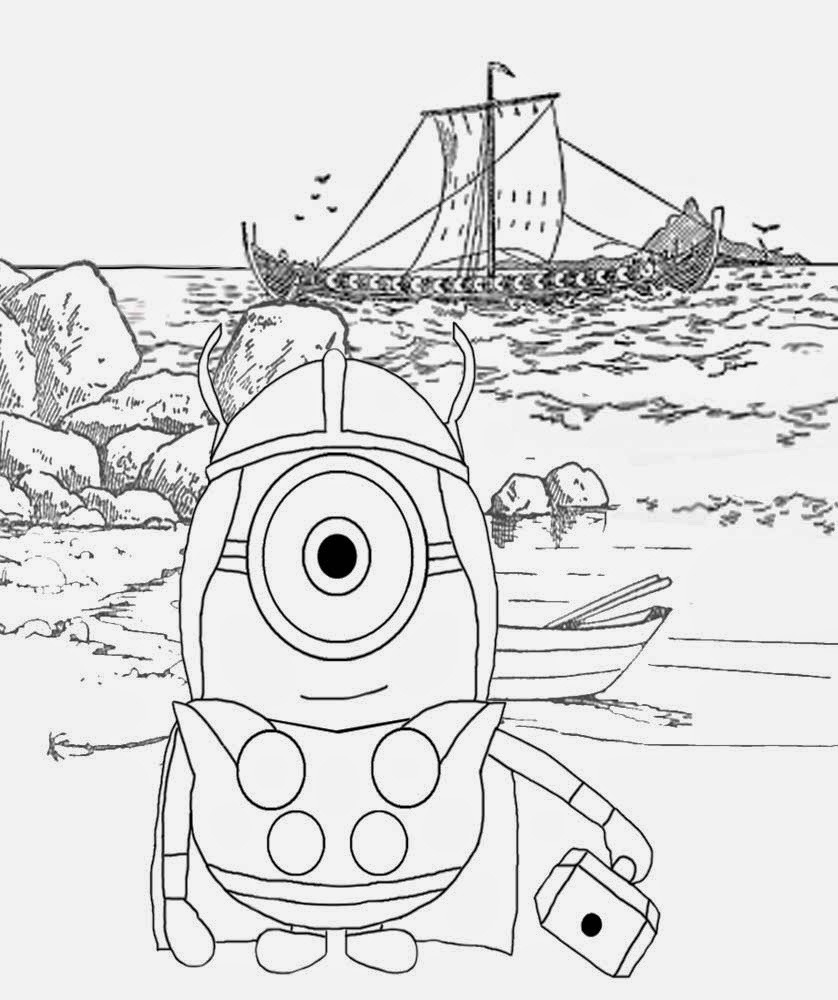 Happy Minion Coloring Pages For Free North Sea Longboat Nordic Viking Minions Illustration To Color Online Coloring Pages