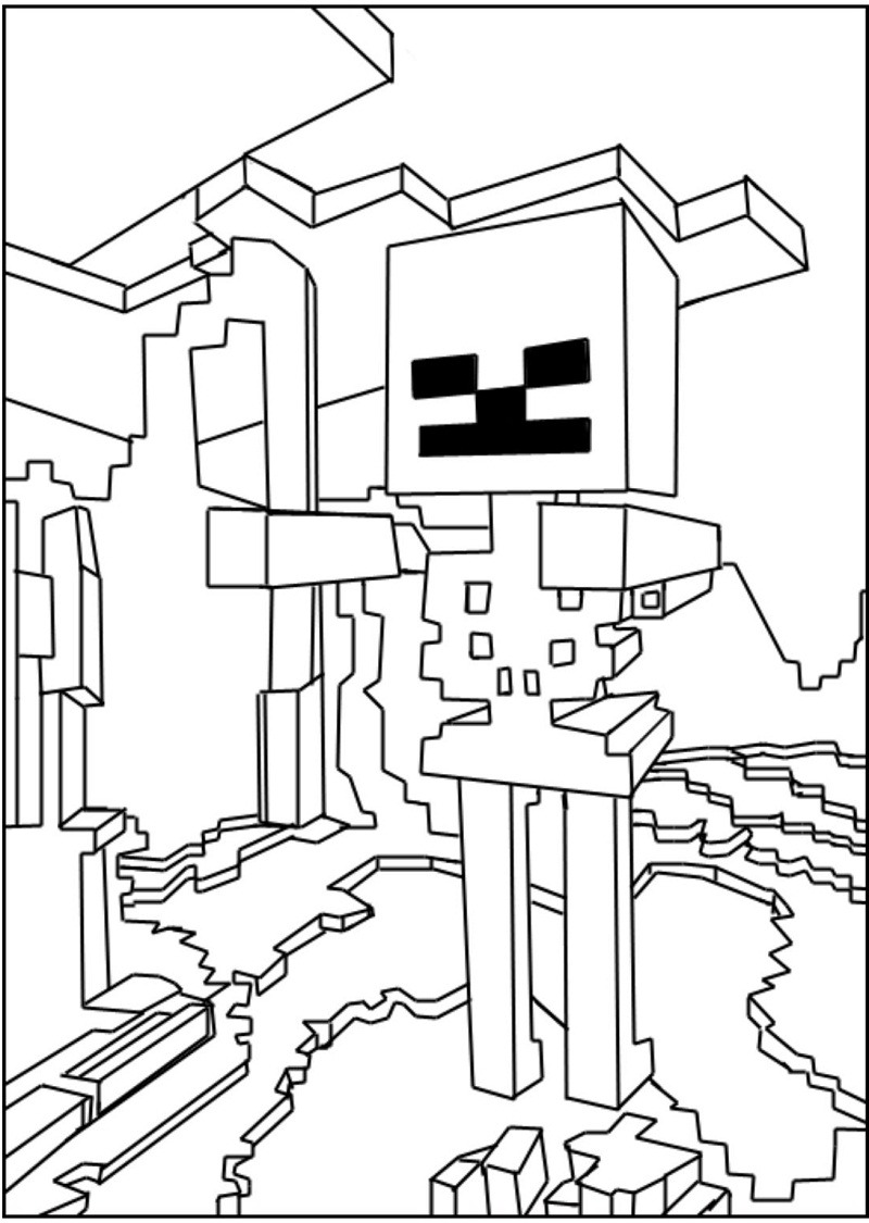 minecraft skeleton coloring colouring in printables pictures to ...