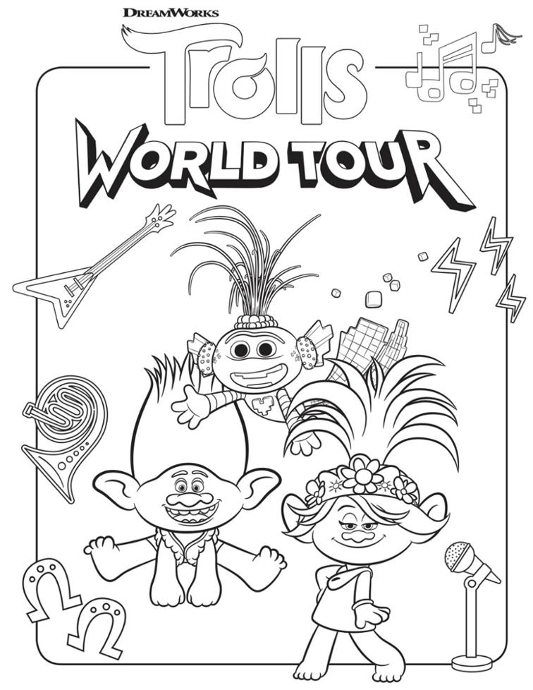 Top 20 Printable Trolls World Tour Coloring Pages