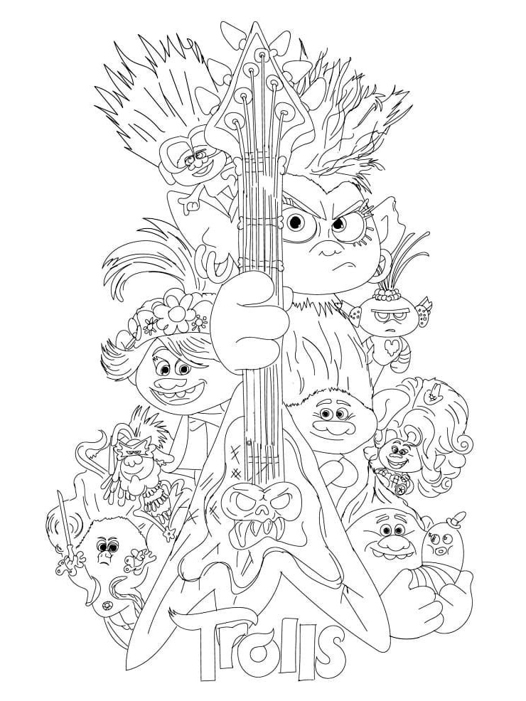 Top 20 Printable Trolls World Tour Coloring Pages - Online ...