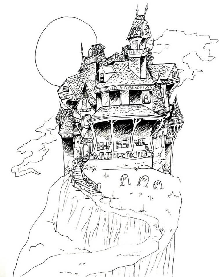 Top 20 Printable Haunted House Coloring Pages