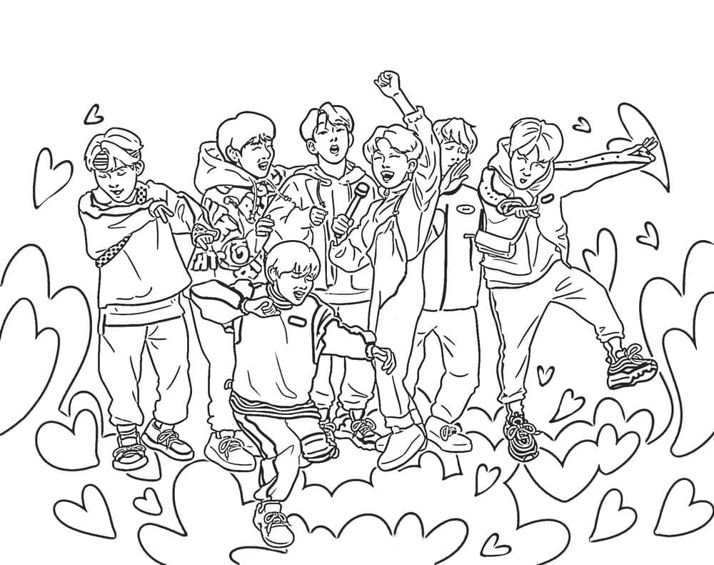 Top 54 Printable BTS Coloring Pages