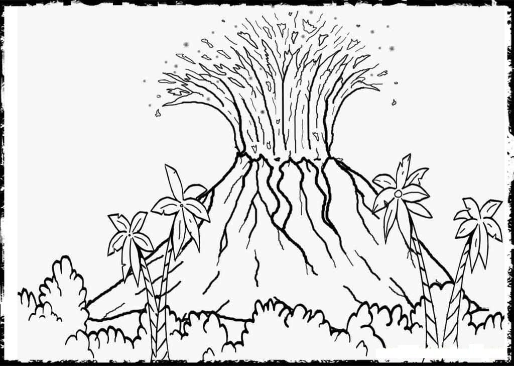 Top 30 Printable Volcano Coloring Pages