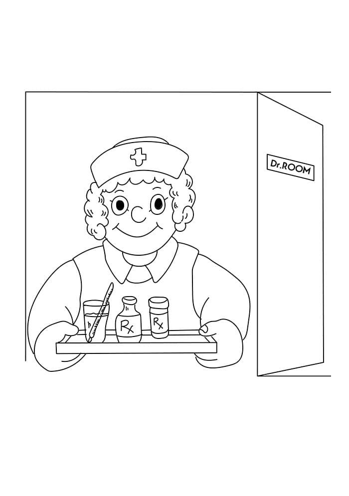 Top 30 Printable Nurse Coloring Pages