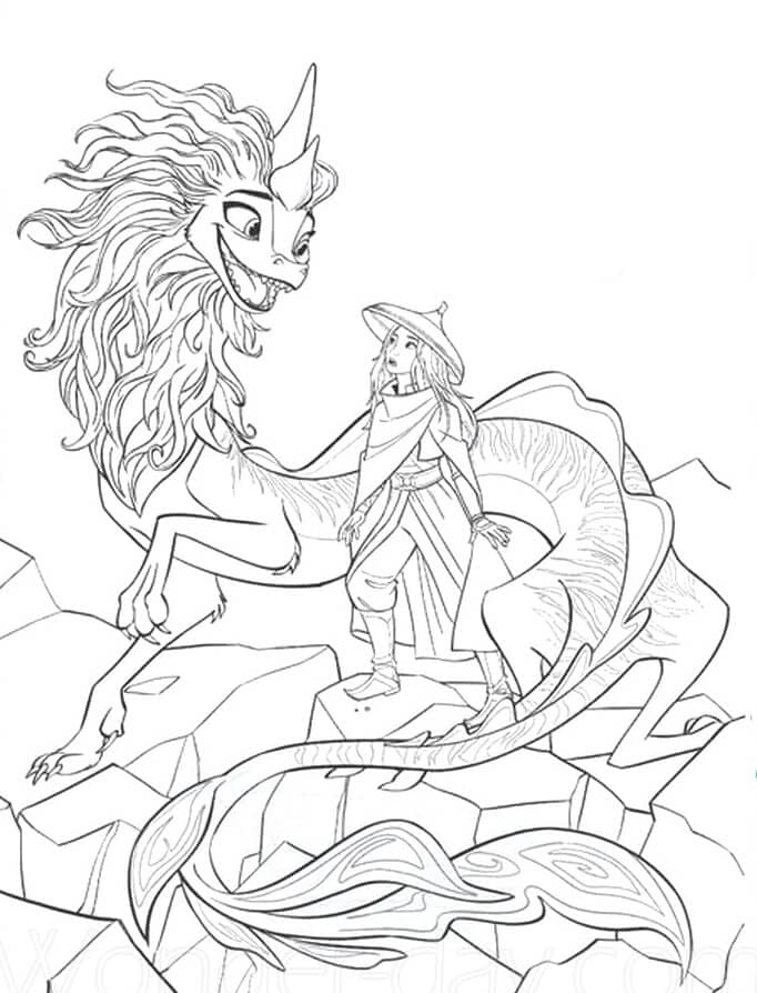 Printable Raya and the Last Dragon Coloring Pages