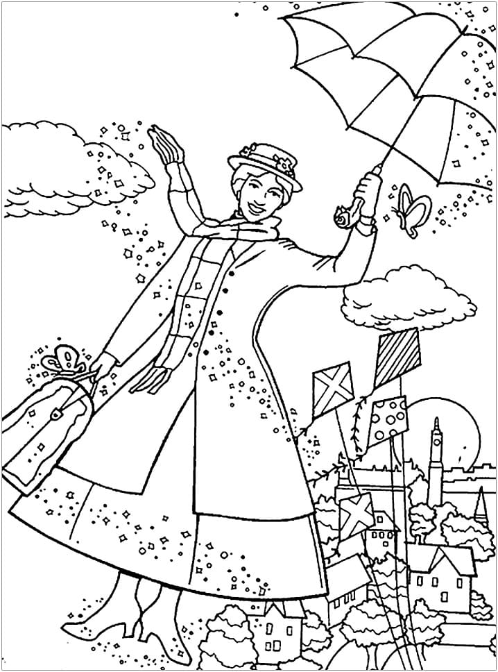 Top 30 Printable Mary Poppins Coloring Pages