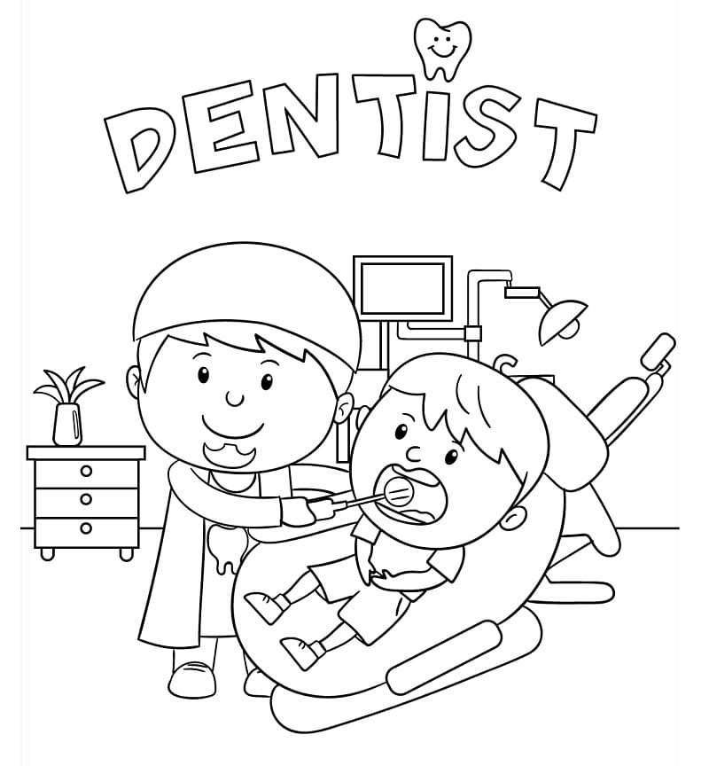 Top 28 Printable Dentist Coloring Pages